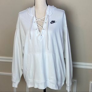 Nike lace front white hoodie sweatshirt
